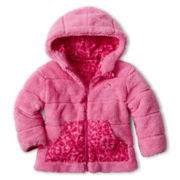 Vertical 9 Hooded Reversible Monkey Fleece Jacket – Girls 2t-6t