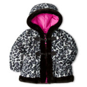 Rothschild Faux Fur Leopard Toggle Jacket – Girls 2t-6t