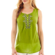 St. John's Bay® Sleeveless Embroidered Henley - Petite