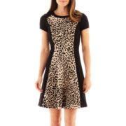 Studio 1® Cap-Sleeve Animal Print Dress