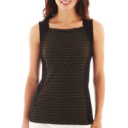 Liz Claiborne® Sleeveless Colorblock Textured Knit Top