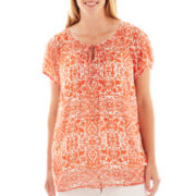 Liz Claiborne® Cap-Sleeve Tie-Front Popover Blouse with Cami - Plus