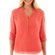 a.n.a® Long Rolled-Sleeve Mandarin Collar Chiffon Popover Top