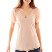 a.n.a® Short-Sleeve V-Neck Chiffon Top