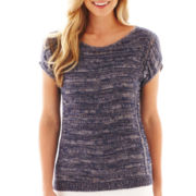a.n.a® Short-Sleeve Open-Stitch Pullover Sweater
