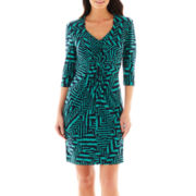 Liz Claiborne 3/4-Sleeve Knot-Front Dress
