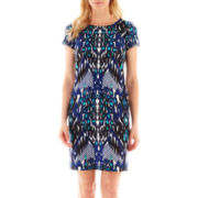 Perceptions Short-Sleeve Aztec Print Scuba Knit Dress