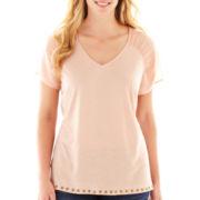 a.n.a® Short-Sleeve V-Neck Top - Plus