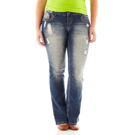 Ariya Destroyed Bootcut Jeans - Plus