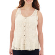 Arizona Lace Peplum Tank Top - Plus