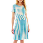 Trulli Short-Sleeve Striped Dress