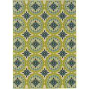 Floral Medallion Blue Indoor/Outdoor Rectangular Rugs