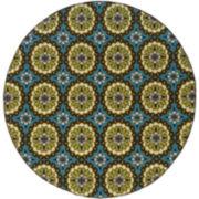 Floral Medallion Blue Indoor/Outdoor Round Rug