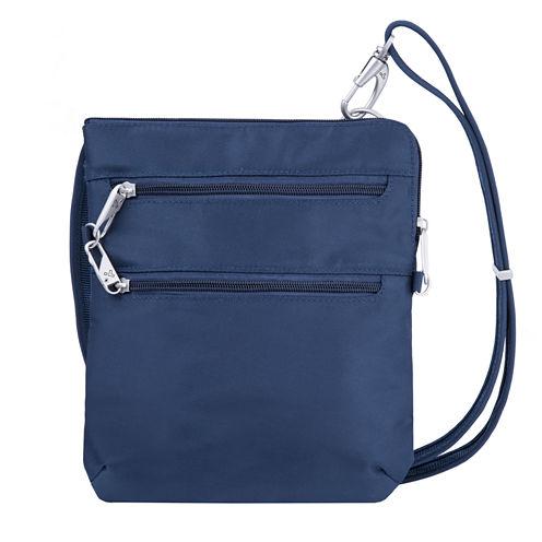 Anti-Theft Classic Slim Double Zip Cross Body Bag Crossbody Bag