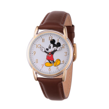 jcpenney.com | Disney Womens Brown And Rose Gold Tone Vintage Mickey Strap Watch W002756