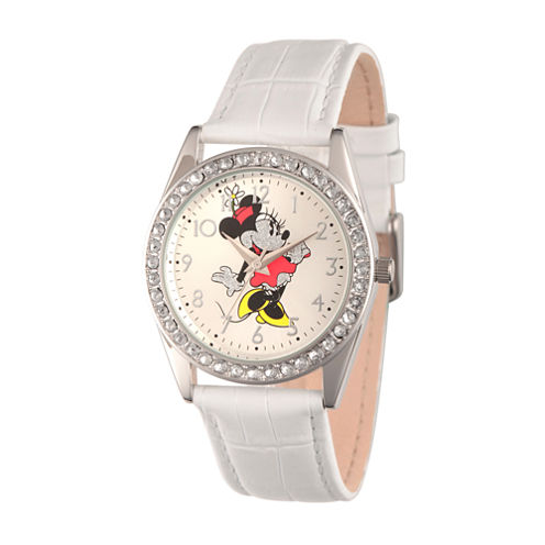 Disney Womens White And Silver Tone Vintage Minnie Mouse Glitz Strap Watch W002764