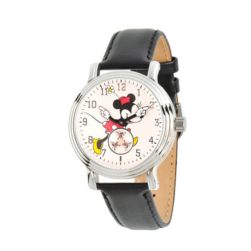 Disney Womens Black And Silver Tone Vintage Alloy Minnie Mouse Leather Strap Watch W002766
