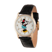Disney Womens Black And Rose Gold Tone Cardiff Alloy Minnie Mouse Strap Watch W002769