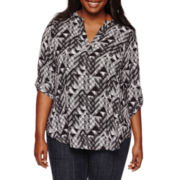 Decree® 3/4-Sleeve Woven Top - Juniors Plus
