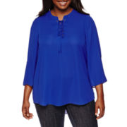 Decree® 3/4-Sleeve Woven Lace-Up Top - Juniors Plus