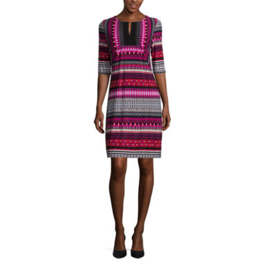 jcpenney.com | Studio 1® Elbow-Sleeve Geo Striped Split-Neck Shift Dress