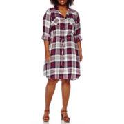 Luxology 3/4-Sleeve Button-Front Tie-Waist Plaid Shirtdress - Plus