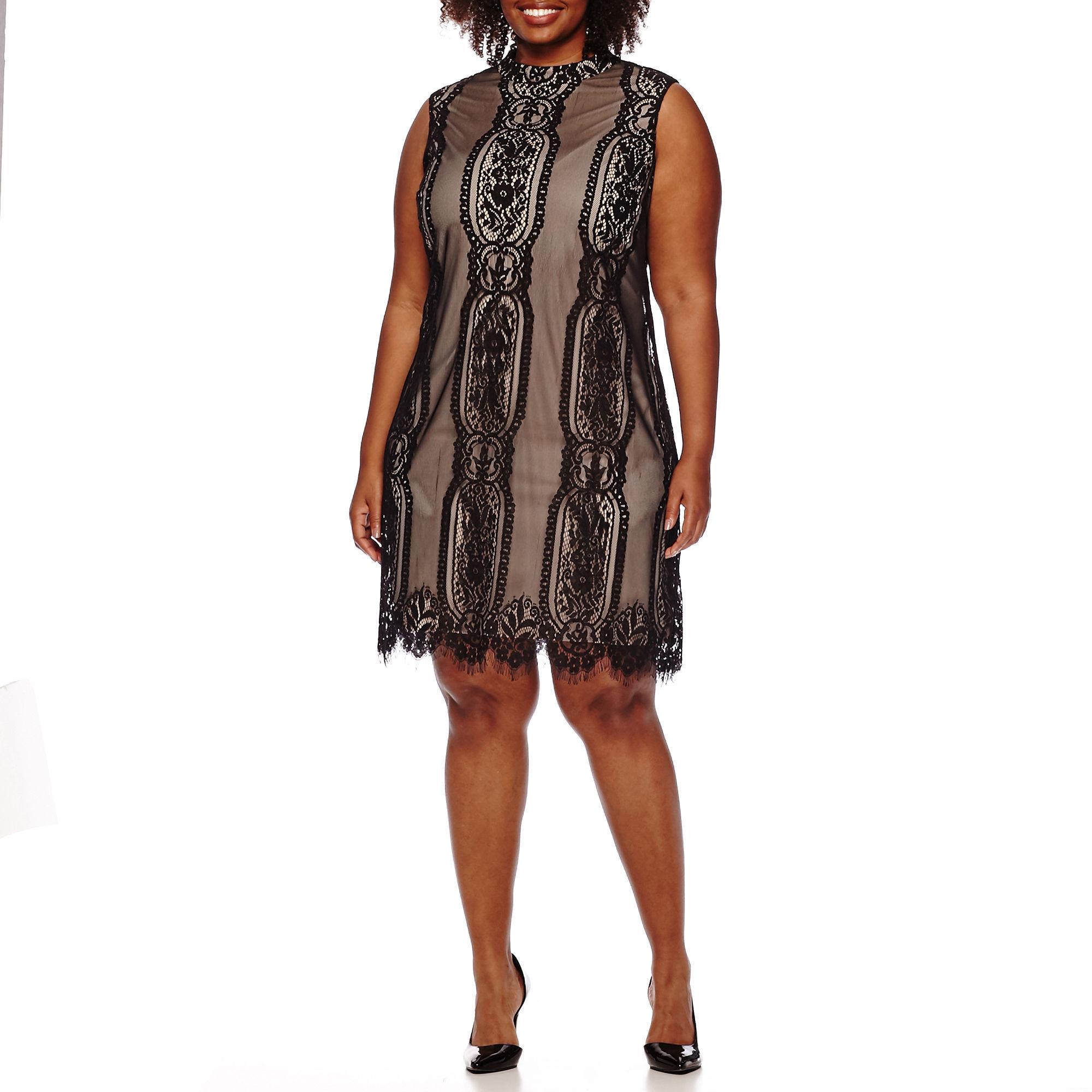 Luxology Sleeveless Lace Mesh Sheath Dress - Plus