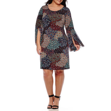 jcpenney.com | MSK Bell-Sleeve Paisley-Print Sheath Dress - Plus