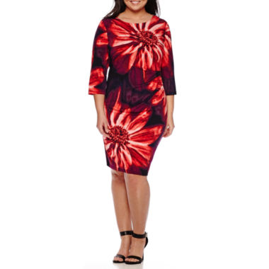 jcpenney.com | RN Studio by Ronni Nicole 3/4-Sleeve Floral Ruched Sheath Dress -Plus