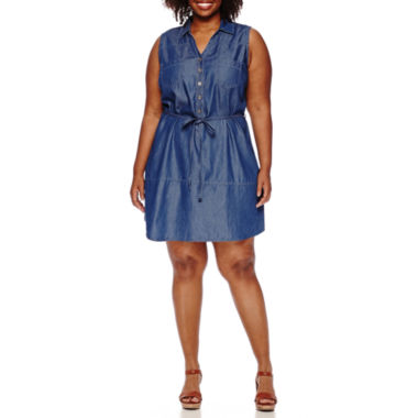 jcpenney.com | Luxology Sleeveless Denim Button-Front Dress - Plus