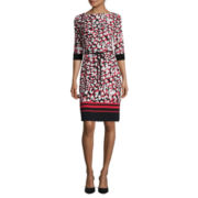 Liz Claiborne® 3/4-Sleeve Abstract Animal Print Shift Dress