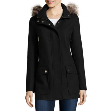 jcpenney.com | a.n.a® Faux-Fur Trim Casual Zip Wool-Blend Coat