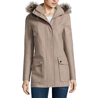 a.n.a Faux-Fur Trim Casual Zip Wool-Blend Coat (Multi Colors)
