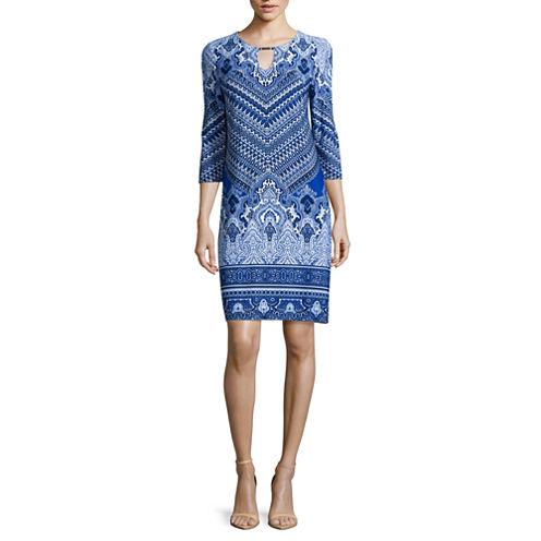Tiana B. 3/4-Sleeve Printed Knit Shift Dress - Tall