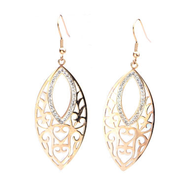 jcpenney.com | Rose Gold IP Stainless Steel Crystal Marquis Drop Earrings