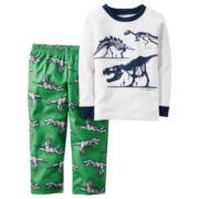 Carter's® Green Dino 2-pc. Fleece Pajama Set - Toddler Boys 2t-5t