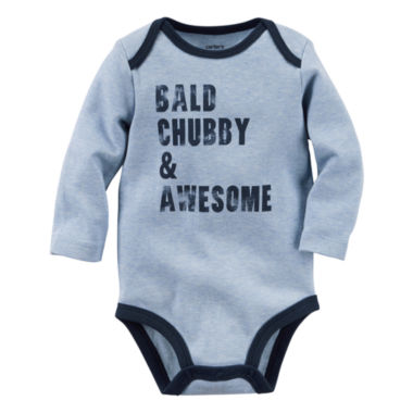 jcpenney.com | Carter's® Long-Sleeve Gray Chubby Slogan Bodysuit - Baby Boys newborn-24m