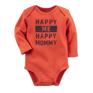 jcpenney.com | Carter's® Long-Sleeve Orange Happy Slogan Bodysuit - Baby Boys newborn-24m