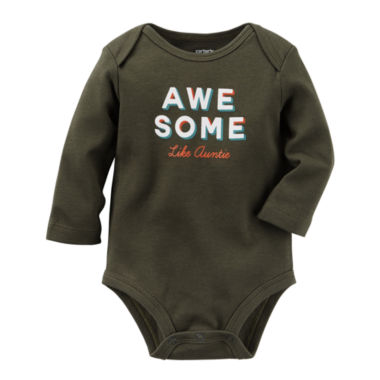 jcpenney.com | Carter's® Long-Sleeve Black Awesome Slogan Bodysuit - Baby Boys newborn-24m