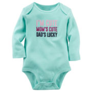Carter's® Long-Sleeve Mint Cute Slogan Bodysuit - Baby Girls newborn-24m