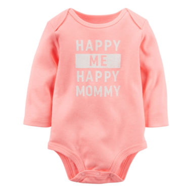 jcpenney.com | Carter's® Long-Sleeve Coral Mommy Slogan Bodysuit - Girls 0-24m