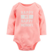 Carter's® Long-Sleeve Coral Mommy Slogan Bodysuit - Girls 0-24m