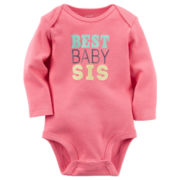 Carter's® Long-Sleeve Pink Sister Slogan Bodysuit - Baby Girls newborn-24m