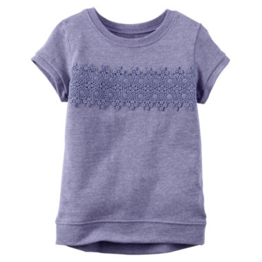 jcpenney.com | Carter's® Short-Sleeve Purple Lace Knit Top - Girls 4-8