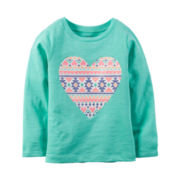 Carter's® Long-Sleeve Turquoise Heart Knit Tee - Girls 4-8