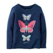Carter's® Long-Sleeve Navy Butterfly Knit Tee - Girls 4-8