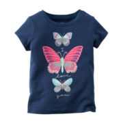 Carter's® Short-Sleeve Navy Butterfly Knit Tee - Girls 4-8