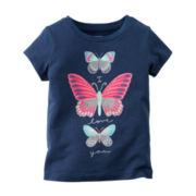 Carter's® Short-Sleeve Navy Butterfly Knit Tee - Girls 4-8