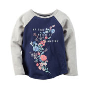 Carter's® Raglan-Sleeve Navy Gray Knit Fashion Top - Girls 4-8