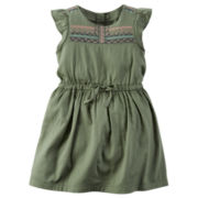 Carter's® Flutter-Sleeve Olive Green Woven Dress - Girls 4-8